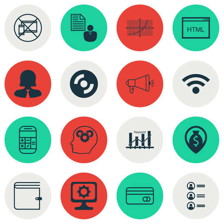 Set Of 16 Universal Editable Icons For Advertising, Computer Hardware And Airport Topics. Includes Icons Such As PC, Coding, Blank Cd And More. Illustration