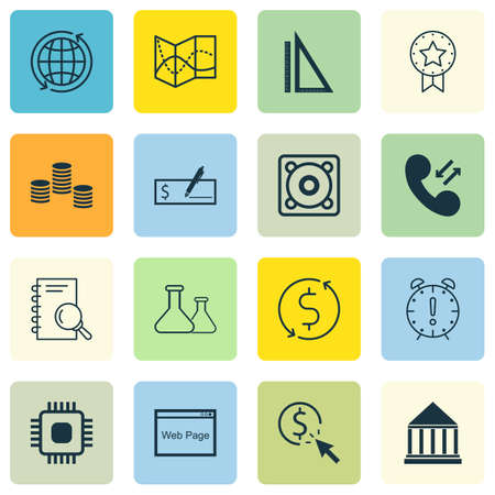 Set Of 16 Universal Editable Icons For Computer Hardware, Airport And Education Topics. Includes Icons Such As PPC, Education Center, Measurement And More.