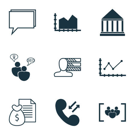 ability to speak: Set Of 9 Universal Editable Icons For Marketing, Project Management And Advertising Topics. Includes Icons Such As Conference, Changes Graph, SEO Brainstorm And More. Illustration