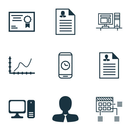 roaming: Set Of 9 Universal Editable Icons For Human Resources, Computer Hardware And Airport Topics. Includes Icons Such As Certificate, Manager, Curriculum Vitae And More.