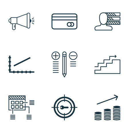 Set Of 9 Universal Editable Icons For Human Resources, Marketing And Airport Topics. Includes Icons Such As Keyword Marketing, Line Up, Growth And More. Illustration