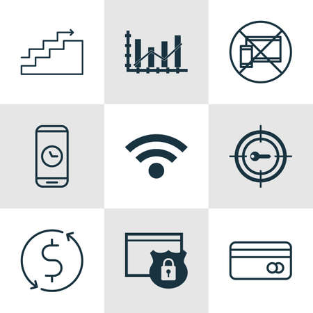 application recycle: Set Of 9 Universal Editable Icons For Statistics, Computer Hardware And Marketing Topics. Includes Icons Such As Keyword Marketing, Growth, Security And More.