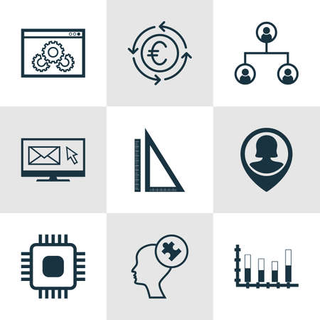 mind set: Set Of 9 Universal Editable Icons For Education, Marketing And SEO Topics. Includes Icons Such As Human Mind, Website Performance, Chip And More. Illustration
