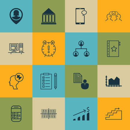 Set Of 16 Universal Editable Icons For Business Management, Project Management And Statistics Topics. Includes Icons Such As Computer, Messaging, Cosinus Diagram And More. Illustration