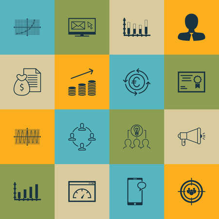 segmented: Set Of 16 Universal Editable Icons For SEO, Project Management And Marketing Topics. Includes Icons Such As Segmented Bar Graph, Media Campaign, Line Up And More.