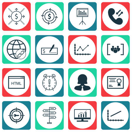 dynamic html: Set Of 16 Universal Editable Icons For Travel, Human Resources And Marketing Topics. Includes Icons Such As Certificate, Opportunity, Presentation And More.