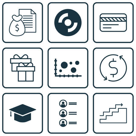 Set Of 9 Universal Editable Icons For Airport, Computer Hardware And Travel Topics. Includes Icons Such As Report, Graduation, Present And More.
