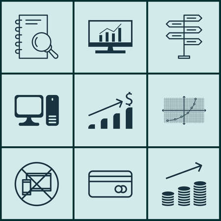 pay raise: Set Of 9 Universal Editable Icons For Project Management, Airport And Marketing Topics. Includes Icons Such As Desktop Computer, Analysis, Plastic Card And More.
