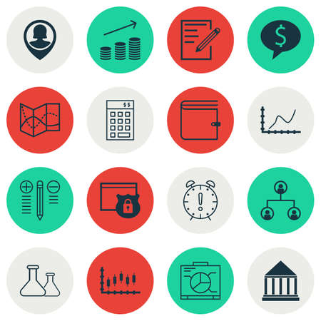 debt collection: Set Of 16 Universal Editable Icons For Education, Statistics And SEO Topics. Includes Icons Such As Board, Coins Growth, Achievement Graph And More.