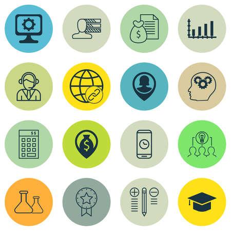 Set Of 16 Universal éditables icônes pour le marketing, la gestion de projet et Matériel informatique Sujets. Comprend des icônes telles que les compétences personnelles, PC, Rapport et plus encore.