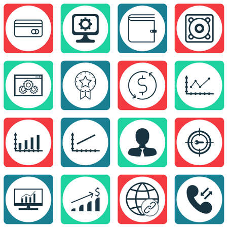 transact: Set Of 16 Universal Editable Icons For Statistics, Advertising And Marketing Topics. Includes Icons Such As Keyword Marketing, PC, Money Trasnfer And More. Illustration