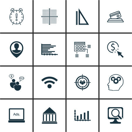 graphical chart: Set Of 16 Universal Editable Icons For Statistics, SEO And Computer Hardware Topics. Includes Icons Such As Measurement, Bars Chart, Graphical Grid And More. Illustration