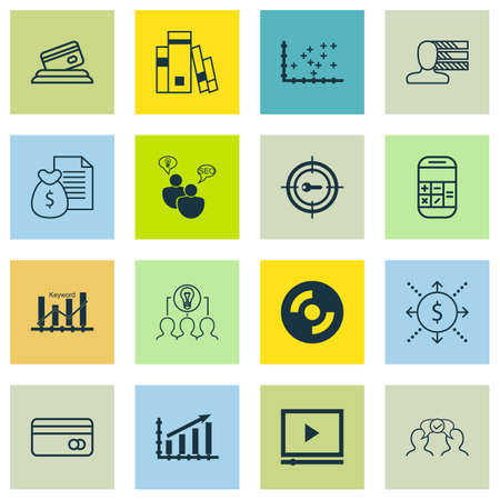 optimisation: Set Of 16 Universal Editable Icons For Project Management, Marketing And Statistics Topics. Includes Icons Such As Report, Library, Keyword Optimisation And More.