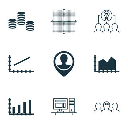 line up: Set Of 9 Universal Editable Icons For Business Management, Project Management And Statistics Topics. Includes Icons Such As Line Up, Dynamics, Collaborative Solution And More.