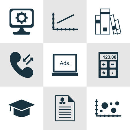 roaming: Set Of 9 Universal Editable Icons For Statistics, Education And SEO Topics. Includes Icons Such As Cellular Data, Graduation, Financial And More.