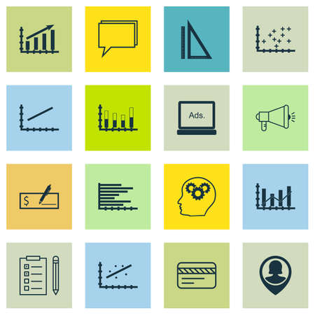raise: Set Of 16 Universal Editable Icons For SEO, Education And Advertising Topics. Includes Icons Such As Plot Diagram, Profit Graph, Raise Diagram And More.