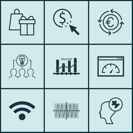 cosinus: Set Of 9 Universal Editable Icons For Statistics, Advertising And Travel Topics. Includes Icons Such As Keyword Optimisation, Shopping, Cosinus Diagram And More.