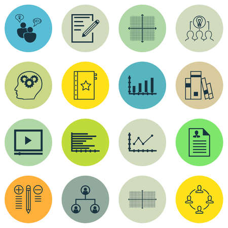 collaborative: Set Of 16 Universal Editable Icons For Business Management, Statistics And Project Management Topics. Includes Icons Such As Warranty, Curriculum Vitae, Collaborative Solution And More.