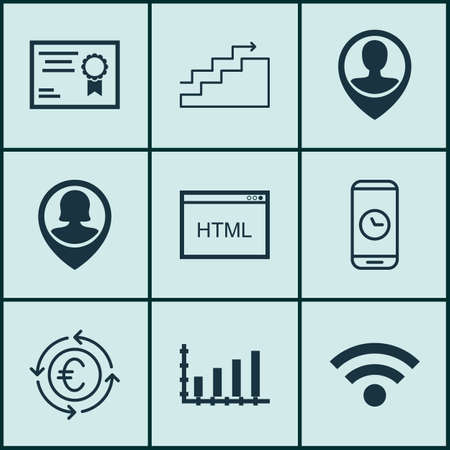 dynamic html: Set Of 9 Universal Editable Icons For Project Management, Computer Hardware And Travel Topics. Includes Icons Such As Certificate, Wireless, Currency Recycle And More.