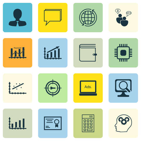 optimisation: Set Of 16 Universal Editable Icons For Marketing, SEO And Advertising Topics. Includes Icons Such As Keyword Optimisation, Conference, Digital Media And More.