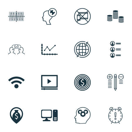 Set Of 16 Universal Editable Icons For Human Resources, SEO And Business Management Topics. Includes Icons Such As Wireless, Desktop Computer, Cosinus Diagram And More. Illustration