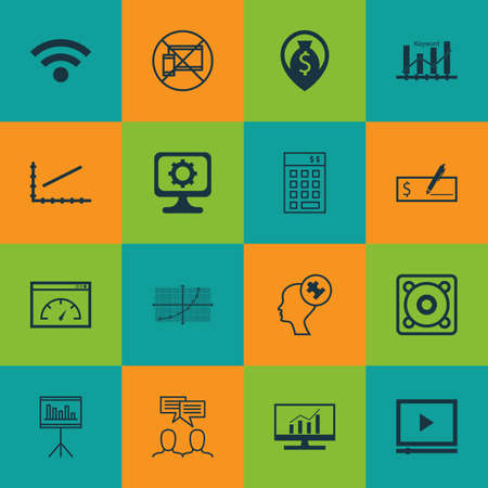 Set Of 16 Universal Editable Icons For Advertising, Statistics And Airport Topics. Includes Icons Such As Wireless, Human Mind, Forbidden Mobile And More.