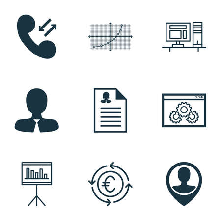 roaming: Set Of 9 Universal Editable Icons For Human Resources, Project Management And Statistics Topics. Includes Icons Such As Currency Recycle, Manager, Cellular Data And More.