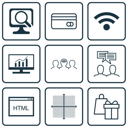 dynamic html: Set Of 9 Universal Editable Icons For Advertising, Business Management And SEO Topics. Includes Icons Such As Graphical Grid, Coding, Laptop And More.