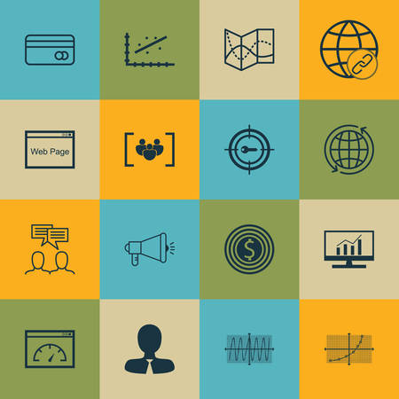 cosinus: Set Of 16 Universal Editable Icons For Project Management, Advertising And Airport Topics. Includes Icons Such As Market Research, Cosinus Diagram, Questionnaire And More.