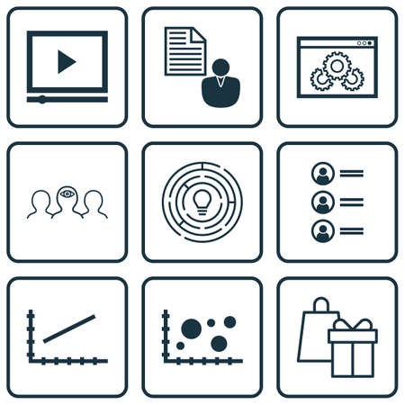 applicant: Set Of 9 Universal Editable Icons For Project Management, Advertising And Marketing Topics. Includes Icons Such As Coaching, Shopping, Comparsion And More. Illustration