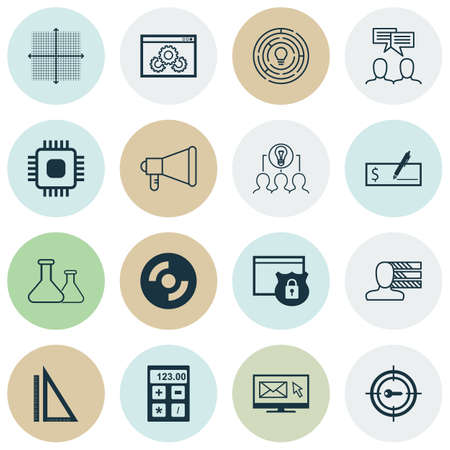 checkbook: Set Of 16 Universal Editable Icons For Business Management, Human Resources And Advertising Topics. Includes Icons Such As Keyword Marketing, Blank Cd, Security And More.