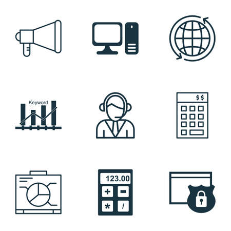 computer operator: Set Of 9 Universal Editable Icons For Airport, SEO And Computer Hardware Topics. Includes Icons Such As Operator, Board, Investment And More.