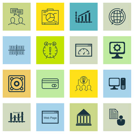 folder icons: Set Of 16 Universal Editable Icons For Computer Hardware, Business Management And Education Topics. Includes Icons Such As Education Center, Board, Report And More. Illustration