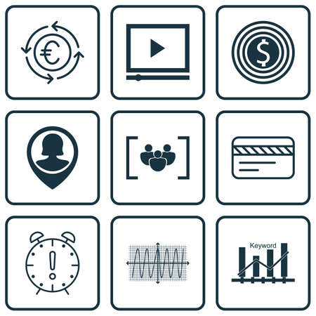 optimisation: Set Of 9 Universal Editable Icons For Travel, Advertising And SEO Topics. Includes Icons Such As Pin Employee, Keyword Optimisation, Business Goal And More.