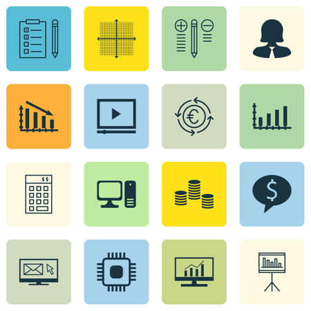 application recycle: Set Of 16 Universal Editable Icons For Statistics, Marketing And Project Management Topics. Includes Icons Such As Video Player, Decision Making, Graphical Grid And More.