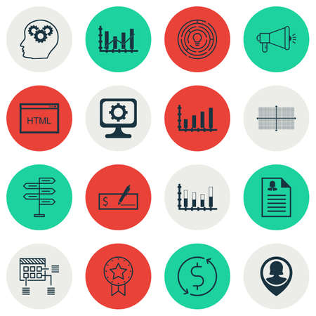 segmented: Set Of 16 Universal Editable Icons For Human Resources, SEO And Computer Hardware Topics. Includes Icons Such As Present Badge, Segmented Bar Graph, Bank Payment And More. Illustration