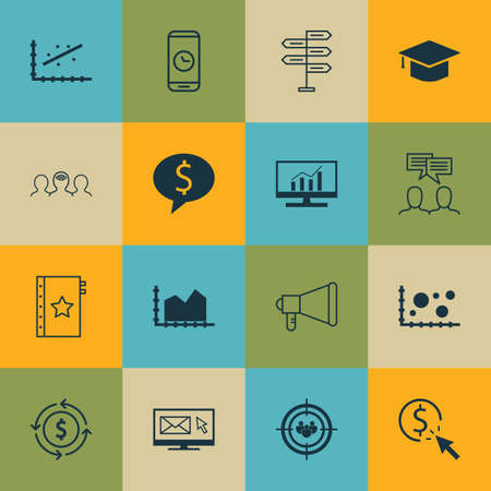 academic touch: Set Of 16 Universal Editable Icons For Project Management, Airport And SEO Topics. Includes Icons Such As Graduation, Announcement, Call Duration And More.
