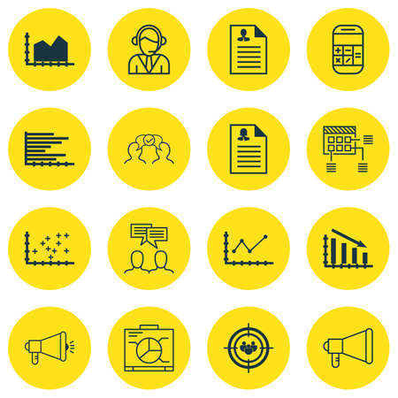 plot: Set Of 16 Universal Editable Icons For SEO, Airport And Human Resources Topics. Includes Icons Such As Cooperation, Announcement, Sequence Graphics And More. Illustration