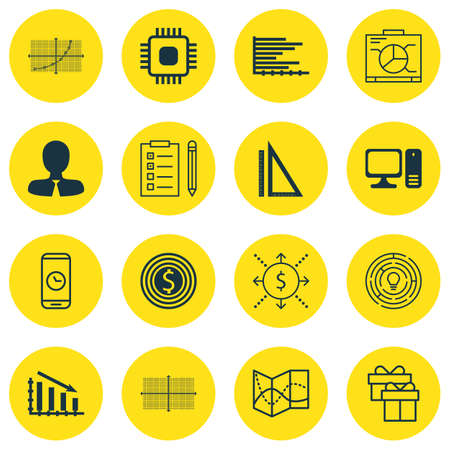 roaming: Set Of 16 Universal Editable Icons For Airport, Education And Project Management Topics. Includes Icons Such As Road Map, Business Goal, Bars Chart And More. Illustration