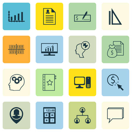 checkbook: Set Of 16 Universal Editable Icons For Computer Hardware, Project Management And Education Topics. Includes Icons Such As Pin Employee, Dynamics, Tree Structure And More.