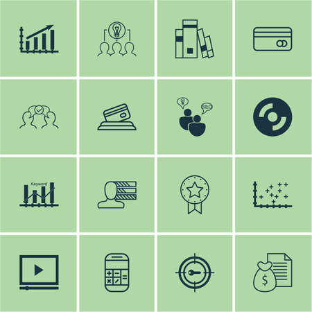 profit graph: Set Of 16 Universal Editable Icons For Education, Statistics And SEO Topics. Includes Icons Such As Profit Graph, Personal Skills, Plastic Card And More.