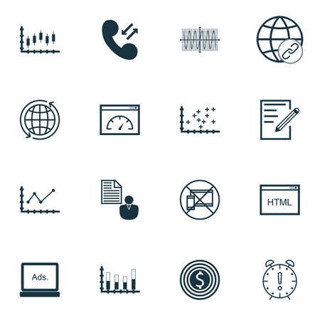 roaming: Set Of 16 Universal Editable Icons For Project Management, Statistics And Airport Topics. Includes Icons Such As Stock Market, Cellular Data, Loading Speed And More. Illustration