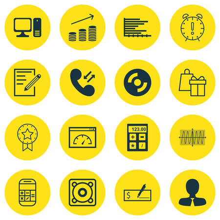cosinus: Set Of 16 Universal Editable Icons For Airport, Education And Computer Hardware Topics. Includes Icons Such As Manager, Present Badge, Cosinus Diagram And More. Illustration