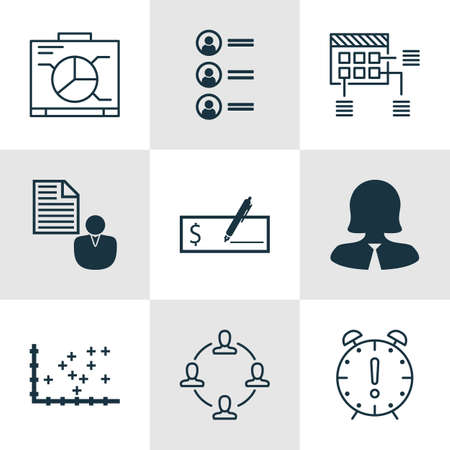 Set Of 9 Universal Editable Icons For Project Management, Statistics And Marketing Topics. Includes Icons Such As Plot Diagram, Schedule, Collaboration And More. Illustration