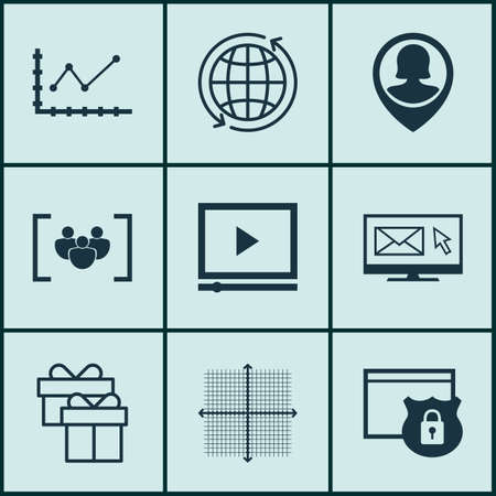 graphical: Set Of 9 Universal Editable Icons For Advertising, SEO And Airport Topics. Includes Icons Such As Video Player, Changes Graph, Graphical Grid And More.