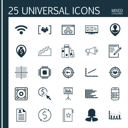 line up: Set Of 25 Universal Editable Icons For Advertising, Statistics And Airport Topics. Includes Icons Such As Line Up, Newsletter, Business Woman And More. Illustration