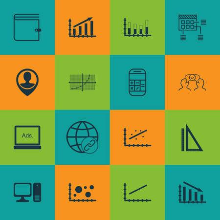 Set Of 16 Universal éditables icônes pour le référencement, l'aéroport et l'éducation Sujets. Comprend des icônes telles que Desktop Computer, Analytics, la coopération et plus encore.