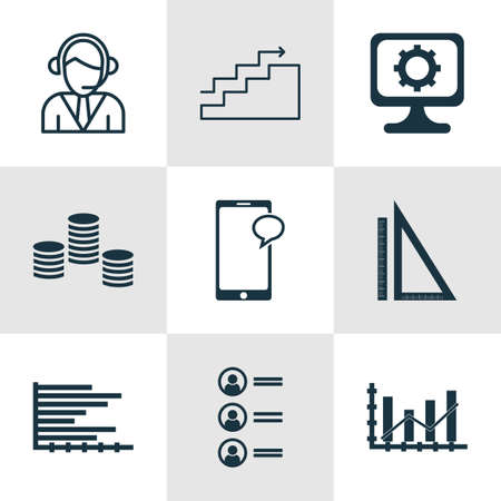 digicam: Set Of 9 Universal Editable Icons For Project Management, Human Resources And Computer Hardware Topics. Includes Icons Such As Messaging, Growth, Money And More. Illustration