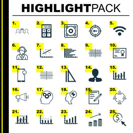 cosinus: Set Of 25 Universal Editable Icons For Advertising, Airport And Education Topics. Includes Icons Such As Bars Chart, Financial, Cosinus Diagram And More. Illustration