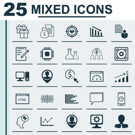 ppc: Set Of 25 Universal Editable Icons For Marketing, Education And Business Management Topics. Includes Icons Such As PPC, Music, Pin Employee And More. Illustration